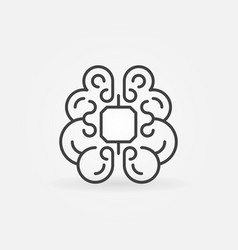 human brain with chip concept icon in thin line vector image