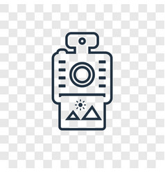 Instant camera concept linear icon isolated on vector