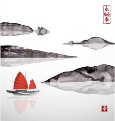 Junk boat with red sails and mountains vector
