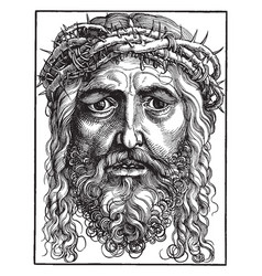 Large head of christ is a chiaroscuro woodcut vector