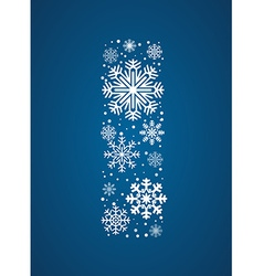 Letter I font frosty snowflakes vector