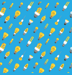 Light bulb seamless pattern color lamp background vector