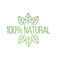logo 100 percent natural with leaves natural vector image
