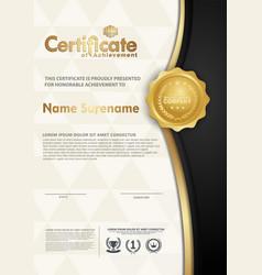 Luxurious vertical certificate template vector