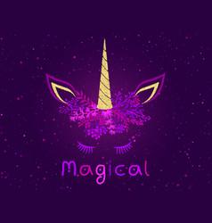 magical cute unicorn trendy meme vector image