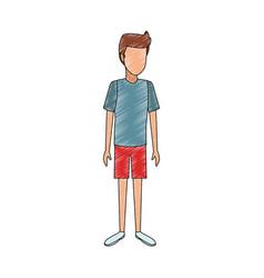 Man faceless cartoon scribble vector