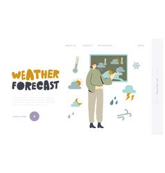 Meteorological report landing page template vector