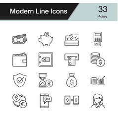 money icons modern line design set 33 vector image