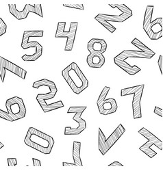 Numbers black and white hand drawn signs in vector