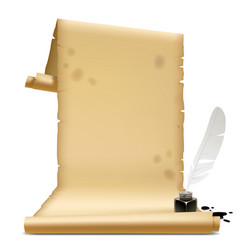 old parchment with an inkwell and feather vector image