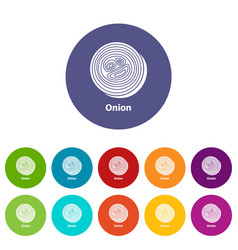 onion icons set color vector image