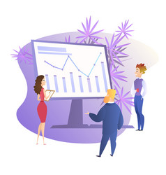people around huge monitor with growing graph vector image