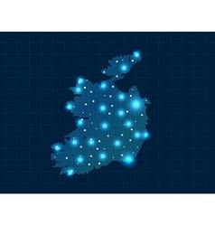 Pixel Ireland map with spot lights vector