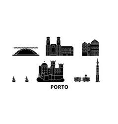 Portugal porto flat travel skyline set portugal vector