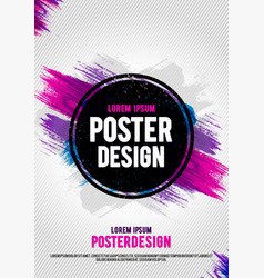 poster design template with grunge brush paint vector image