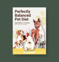 Poster template with dogs and food design vector