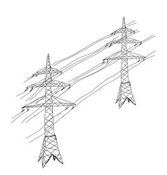 power lines hand drawn sketch vector image
