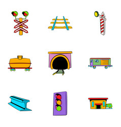 railway station icons set cartoon style vector image