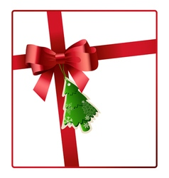 Red bow and ribbon with christmas tree tag vector
