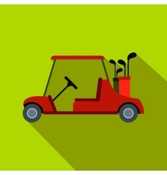 Red golf car flat icon vector image
