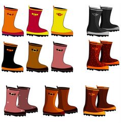 rubber boots of different colors with a buckle vector image