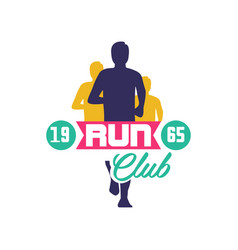 run club logo estd 1965 emblem with abstract vector image