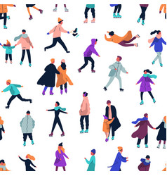 seamless pattern with people dressed in winter vector image