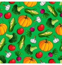 Seamless vegetables pattern on green background vector