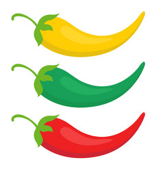 set color chili pepper icon yellow green and vector image