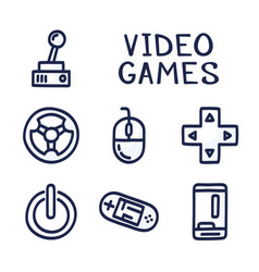 set doodle icons related to computer games vector image
