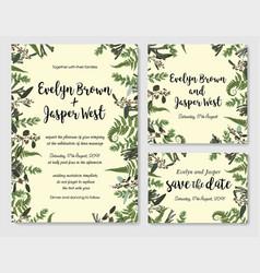 set of wedding invitation greeting card save vector image