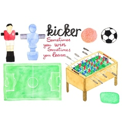 Set watercolor foosball or kicker design elements vector