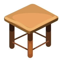 Simple wooden stool top view vector