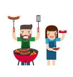 smiling man and woman cooking barbecue vector image