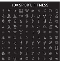 sport fitness editable line icons set on vector image