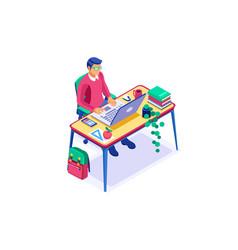 study academy concept cartoon learning vector image
