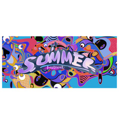 Summer banner with colorful doodle background vector