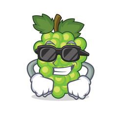 Super cool green grapes character cartoon vector
