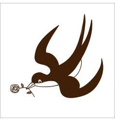 Swallow with rose isolated on white vector