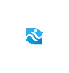 swiming people sport sign logo vector image