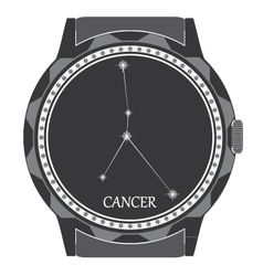 The watch dial with the zodiac sign Cancer vector image