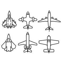 thin line airplane icons set vector image