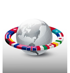 Travel background globe with a strip of flags vector