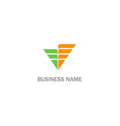 V stripe shape initial logo vector
