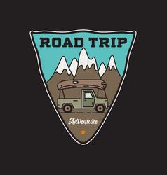 vintage road trip adventure badge sticker vector image