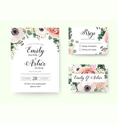 Wedding floral invitation floral invite rsvp card vector