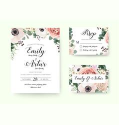 wedding floral invitation floral invite rsvp card vector image