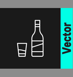 white line bottle vodka with glass icon vector image
