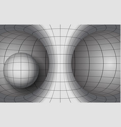 white torus and sphere with black grid of vector image