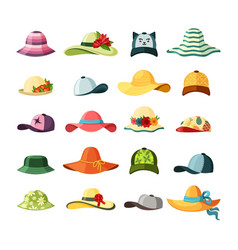 wide brimmed hats and caps set stylish baseball vector image